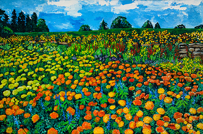 Meadow of Gold Painting of Marigolds by Kathleen Karlsen