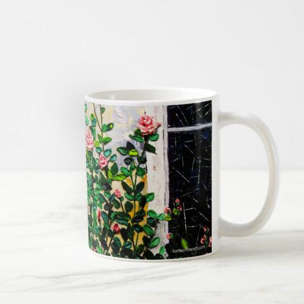 rose coffee mug side view